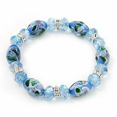 Floral Light Blue Glass Bead & Crystal Ring Flex Bracelet - Up to 21cm Length Avalaya. $14.13. Type: stretchy. Material: glass. Metal Finish: silver plated. Wear On: wrist. Occasion: casual wear, cocktail party
