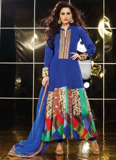 Royal Blue Faux #Georgette #Churidar Suit.