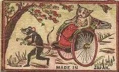 "Cats used to travel like this in ancient Japan, until the great ""rat uprising"" of 1230, when many rats fled to ""the new world"", and, of course, established Disneyland as a haven for all rodentkind..."