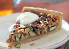 CARAMELLIZED PISTACHIO WALNUT & ALMOND TART (Made with Rose Water.  From Bon Appetit)