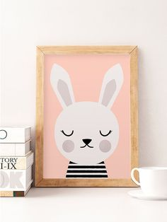 Cute rabbit, Little rabbit, Scandinavian nursery, Minimalist nursery, Pink nursery, Pink print, Safari print, Wall decor kids, Kids room art