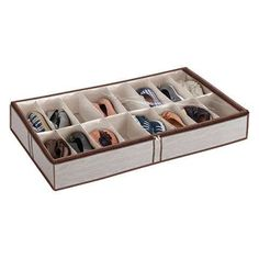 Under the bed shoe storage container from the containerstore.com.  $20 each. | 1000 Shoe Storage Containers, Container Organization, Storage Bins, Diy Storage, Storage Organization, Storage Ideas, Clothing Organization, Yarn Storage, Jewelry Storage