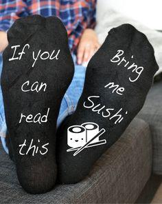 If you can read this bring me Sushi Socks Funny Socks Sushi Socks Birthday Gift  | eBay