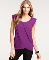"""Asymmetrical Tiered Jersey Top - Fantastically flowy, this expertly tiered jersey top exudes purely feminine chic - cast in a palette of covetable colors. Scoop neck. Sleeveless. Side zipper with hook-and-eye closure. Layered front. Solid back. 19 1/2"""" from natural waist."""
