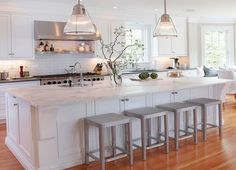 white kitchen with white marble countertops - Google Search