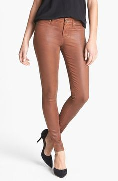 Paige Denim 'Verdugo' Coated Ultra Skinny Jeans (Saddle) available at #Nordstrom