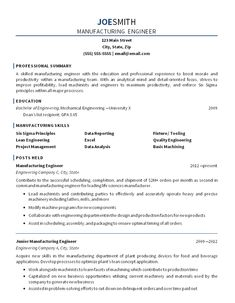 manufacturing engineer resume example - Manufacturing Engineer Resume
