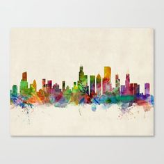 Trademark Fine Art Chicago Illinois Skyline Canvas Art by Michael Tompsett, Size: 12 x Multicolor Chicago Skyline, Skyline Art, Chicago City, Chicago Illinois, Skyline Painting, Cityscape Art, Skyline Tattoo, Visit Chicago, City Painting