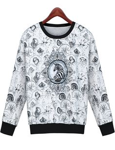 Grey Long Sleeve Horse Embroidered Sweatshirt | SheInside.com