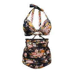 Women Retro Ruched Hight Waist Bikini Shirred Floral Halter Swimsuit Black L - Walmart.com