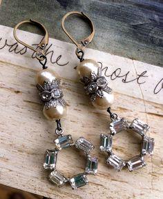 Agatha. vintage rhinestone droppearl earrings. by tiedupmemories, $42.00