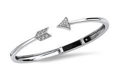 Pavé Diamond Arrow Open Bangle - in Sterling Silver - (0.20 CTW)