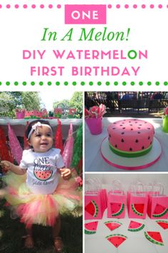 In the park + bright and colorful + DIY touches, and as unique as our baby girl. what's not to love about this super adorable watermelon birthday party theme! Watermelon Birthday Parties, 1st Birthday Party For Girls, 1st Birthday Themes, Baby First Birthday, Birthday Ideas, One In A Melon, First Birthdays, Diy Tutu, Decoration