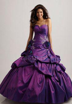 Sweetheart Ball Gown Taffeta Lace up Sleeveless Floor Length Quinceanera Dress - Angeldress.co.uk