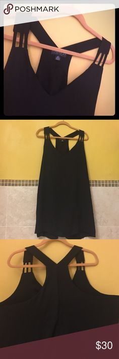 Forever 21 plus size shirt Forever 21 + plus size fancy racer back tank blouse. Brand new never been worn. NWOT. Dark sheer flowing material, has an extra lining under the shirt in bust area only. Nice to wear for the holidays or a night out on the town.  Size 3x forever 21+ plus sizes Tops Blouses
