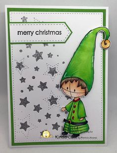 Christmas card using elf digital stamp from kindacutebypatricia.com #kindacutebypatricia #digitalstamps #copicsketchmarkers #christmascard