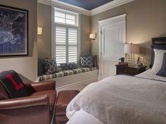 Teen Boy Bedroom Color Scheme. Teen Boy Bedroom with Greige Walls and Navy Blue Ceiling Paint Color. Teen Boy Bedroom Color Scheme Ideas #TeenBoyBedroom #ColorScheme #TeenBoyBedroomColorScheme #BoyBedroomColorScheme