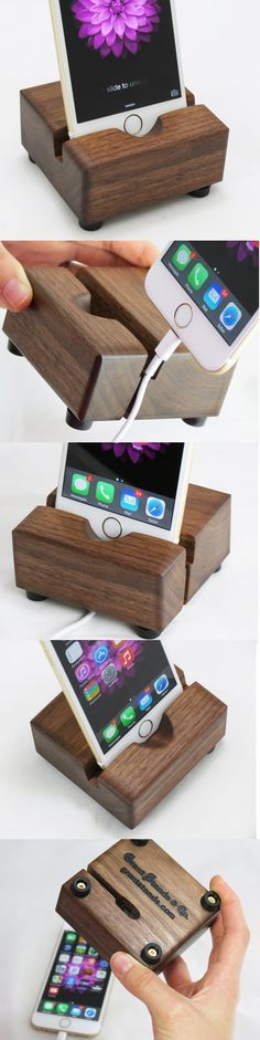 Ted's Woodworking Plans iPhone 6 Docking Station - Black Walnut More Get A Lifetime Of Project Ideas & Inspiration! Step By Step Woodworking Plans Iphone S6 Plus, Iphone 6, Carpentry Projects, Diy Projects, Project Ideas, Support Iphone, Wood Crafts, Diy And Crafts, Iphone Stand