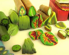 Canes used to make leaves and flowers.  Click through this Flickr series for a visual feast.  #Polymer #Clay #Tutorials