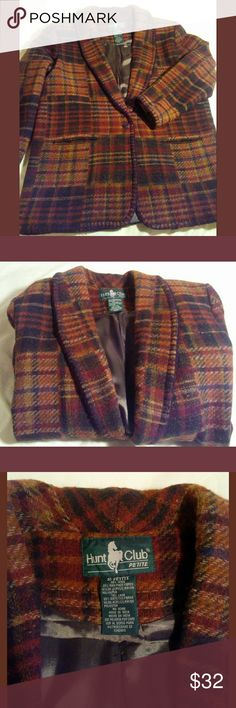 Vintage Classic Hunt Club Blanket Stitch Blazer~M Awesome fully lined blanket stitch blazer. Very warm&cozy, fall colors, shawl collar, pockets, one button closure. This versatile classic looks great dressed up or down with jeans or skirt,trousers.,Fits Medium 8-10,marked 10. See measurements in pics,as this is a vintage piece. Hunt Club Jackets & Coats Blazers