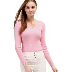 Womens V Neck Crochet Elastic Plain Pullover Sweater Pink (3885 RSD) ❤ liked on Polyvore featuring tops, sweaters, pink, pink v neck sweater, v neck pullover sweater, pink sweater, v-neck pullover and crochet pullover