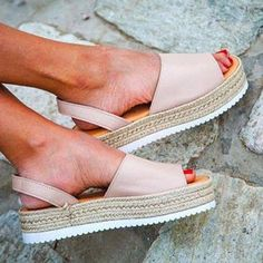 39e0843994d85 Women PU Creepers Sandals Casual Back Strap Shoes