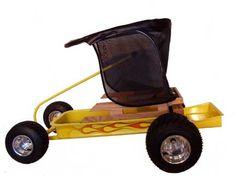 custom kids wagon with sun shade from Uchimura Wagons.