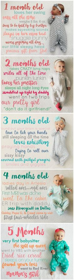 Creative Monthly Baby Picture Ideas Creative and Easy Monthly Baby Picture Ideas: Baby Stats Monthly Picture Idea from the Child … Monthly Baby Photos, Monthly Pictures, Baby Monthly Milestones, Milestone Pictures, Newborn Pictures, Baby Pictures, Photoshoot Idea, Baby Monat Für Monat, Foto Newborn