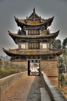A three storey pylon of Twin Dragon Bridge, Jianshui, Yunnan Province