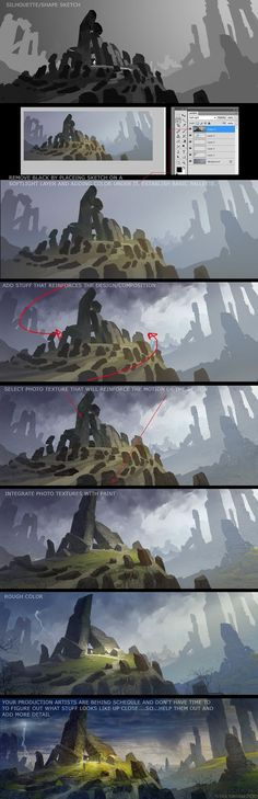 concept art tutorial for photoshop. I especially like the step on getting rid of grayscale, that'll save me a ton of time.