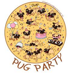 Pug Party by CrispyLettuce on DeviantArt