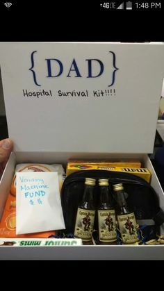 Daddy hospital survival kit. Includes munchies, disposable toothbrushes, deodorant, vending machines funds, and a little something to take the edge off! :)