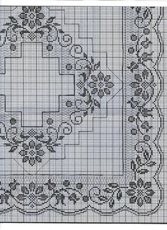 This Pin was discovered by Rut Cross Stitch Borders, Cross Stitch Flowers, Cross Stitch Designs, Cross Stitch Patterns, Crochet Patterns Filet, Crochet Borders, Crochet Designs, Crochet Table Runner, Crochet Tablecloth