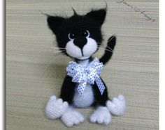 Katze schwarz-weiß OOAK gefüllte Tiere häkeln Handmade weichen Spielzeug Dekor Amigurumi gemacht auf Bestellung