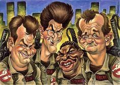 Funny Caricatures, Celebrity Caricatures, Cartoon Faces, Funny Faces, Ghostbusters Logo, Funny Cartoons, Funny Art, Comic Art, Pop Culture