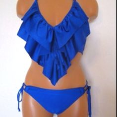 This blue ruffled bathing suit is sooooo cute!!!