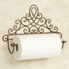 The Cassoria Antique Gold Wall Mount Paper Towel Holder features an elegant and sophisticated scrolling motif. This metal accent is handcrafted. Kitchen Organization Wall, Paper Organization, Iron Furniture, Iron Art, Iron Decor, Gold Walls, Summer Diy, Summer Crafts, Kids Crafts