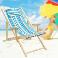 Simple Foldable Portable Beach Chair Solid Canvas Oak Wooden Lounge Soft Leisure Reclining Sunbathe