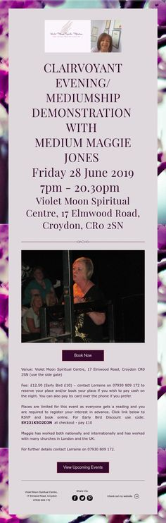 Clairvoyant Evening :Maggie Jones Croydon, Upcoming Events, Centre, Spirituality, June, Friday, Moon, Medium, Reading