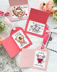 Tags by Leanne West. Reverse Confetti Stamps: Huggable, Word Up. Confetti Cut Dies: Fold Over Tag, Huggable. Birthday Card Drawing, Doodle Art Designs, Paper Crafts Origami, Homemade Valentines, Copics, Valentine Day Cards, Homemade Cards, Cardmaking, Decoration