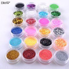 Elite99 24 Mix Color Nail Art Polvere Acrilica della Polvere di Scintillio Capovolge La Decorazione di DIY Strumento