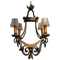 Neoclassic French Iron and Gilt Four Light Chandelier