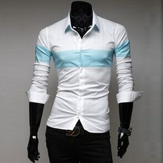 2014 Hot Sale Men's Patchwork Casual Long-sleeve Shirt Male Fashion Slim Fit Autumn Wear Free Shipping MCL354