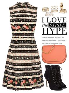 """""""Stripes 2220"""" by boxthoughts ❤ liked on Polyvore featuring MICHAEL Michael Kors"""
