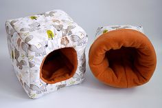 SAVE SHIPPING: 1x cosy cuddle sack / sleeping bag + 1x cube for guinea pigs or hedgehogs (foxes/terracotta) by TheCosyHut on Etsy