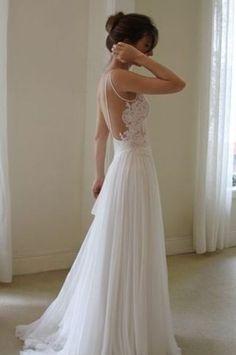 Backless Flowy Wedding Dress