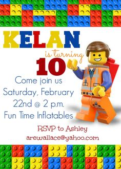 Lego Movie Party Invitation by SocialButterflies98 on Etsy, $8.50