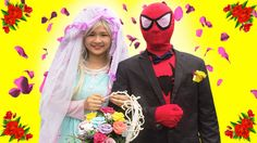 Frozen Elsa Spiderman wedding with beautiful Girl   Venom Captain Hulk F...