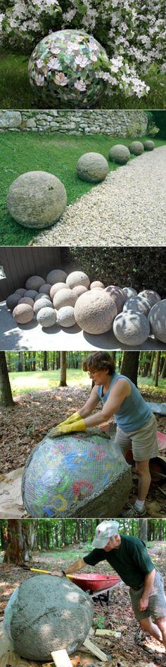 Декоративные шары из цемента для сада. Идеи и мастер-класс
