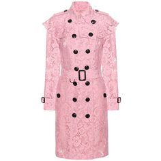 Burberry Stanhill Lace Coat ($2,305) ❤ liked on Polyvore featuring outerwear, coats, pink, burberry, pink coat, lace coat, burberry coat and red coats